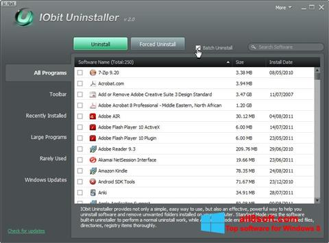 Скріншот IObit Uninstaller для Windows 8