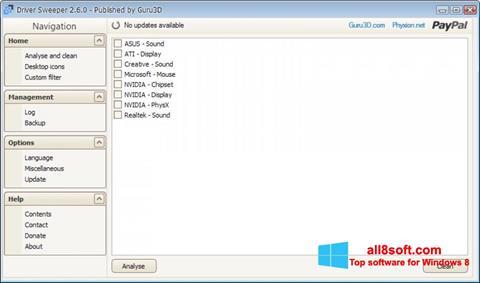 Скріншот Driver Sweeper для Windows 8