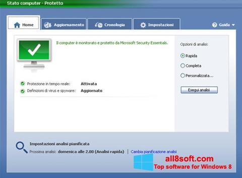 Скріншот Microsoft Security Essentials для Windows 8