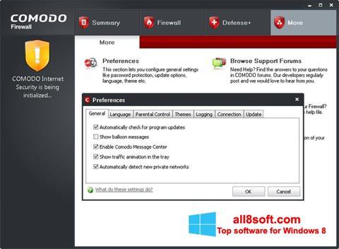 Скріншот Comodo Firewall для Windows 8
