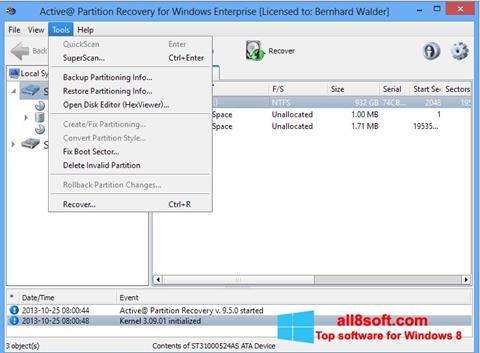 Скріншот Active Partition Recovery для Windows 8