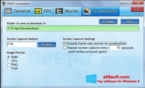 Скріншот Fraps для Windows 8