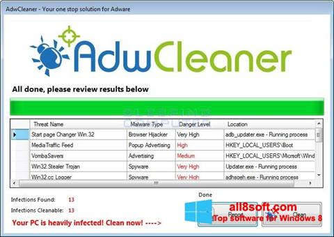 Скріншот AdwCleaner для Windows 8
