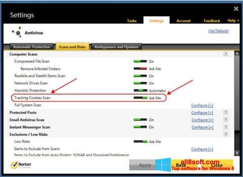 Скріншот Norton для Windows 8