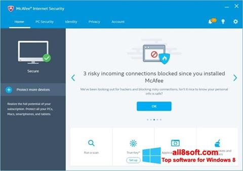 Скріншот McAfee для Windows 8