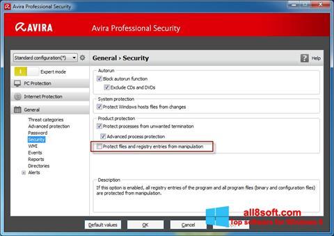 Скріншот Avira Professional Security для Windows 8