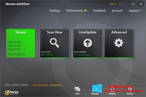 Скріншот Norton AntiVirus для Windows 8