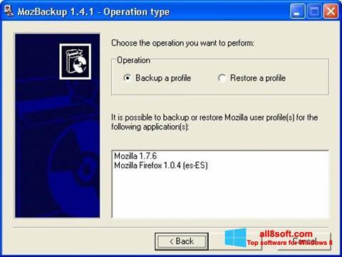 Скріншот MozBackup для Windows 8