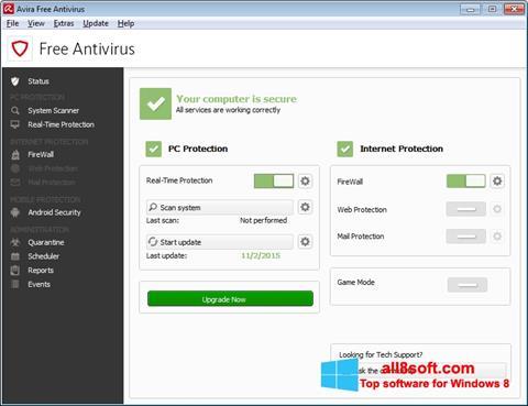 Скріншот Avira Free Antivirus для Windows 8