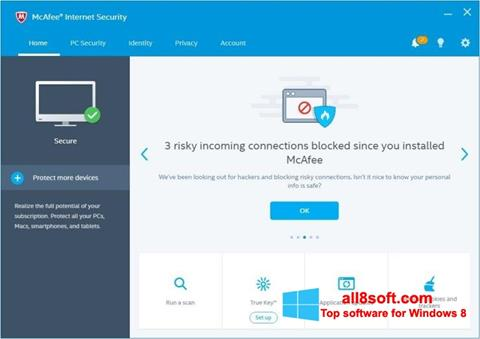 Скріншот McAfee Internet Security для Windows 8