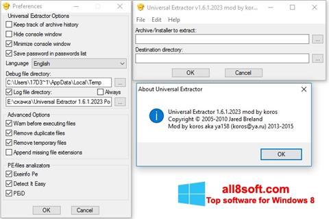 Скріншот Universal Extractor для Windows 8