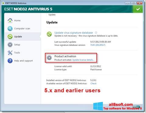 Скріншот ESET NOD32 для Windows 8