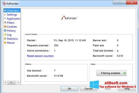Скріншот AdFender для Windows 8