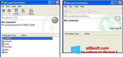 Скріншот Microsoft ActiveSync для Windows 8