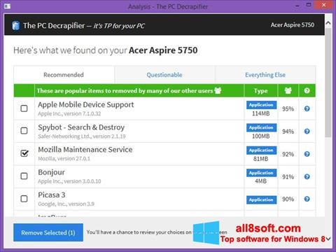 Скріншот PC Decrapifier для Windows 8