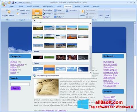 Скріншот Artisteer для Windows 8