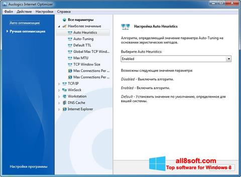 Скріншот Auslogics Internet Optimizer для Windows 8