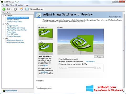 Скріншот NVIDIA ForceWare для Windows 8